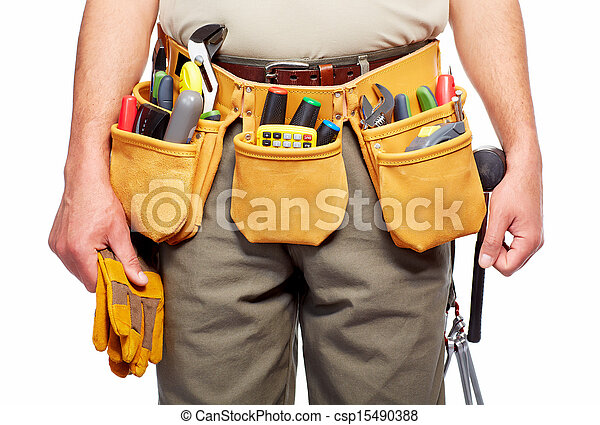 Pictures of Handyman with a tool belt. Isolated on white ...