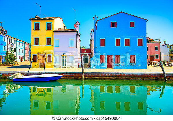 Venice landmark, Burano island canal, colorful houses and boats, Italy - csp15490804