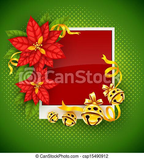 Vector clip art de oro saludo flor de nochebuena - Imagenes flores de navidad ...