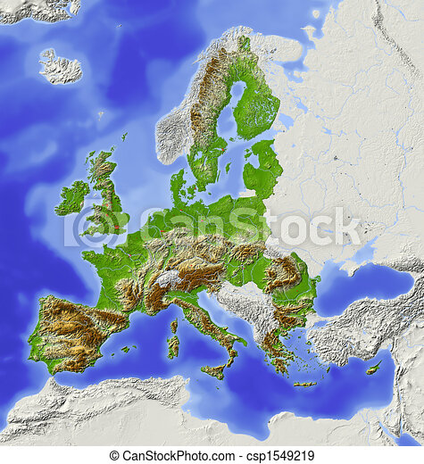 European Union, shaded relief map - csp1549219