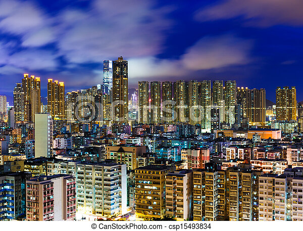 Residential district in Hong Kong at night - csp15493834