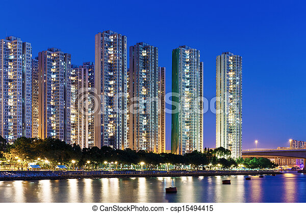 Residential building in Hong Kong - csp15494415