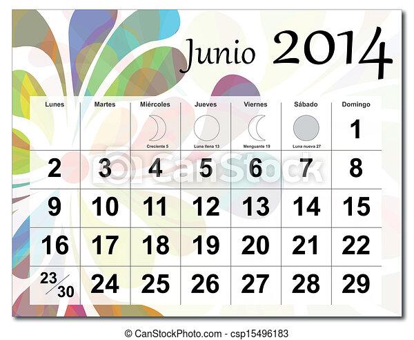 6月, 2014, カレンダー - EPS10 ...