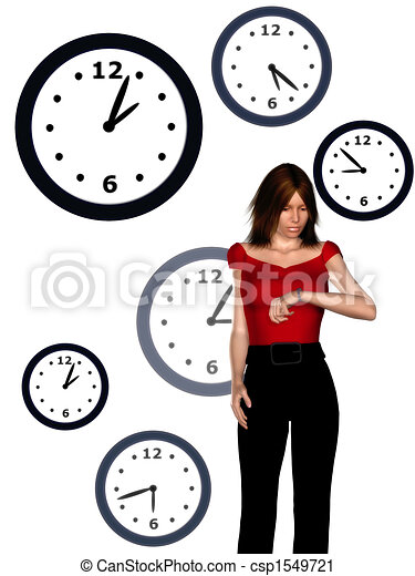 Woman looking at her watch - csp1549721