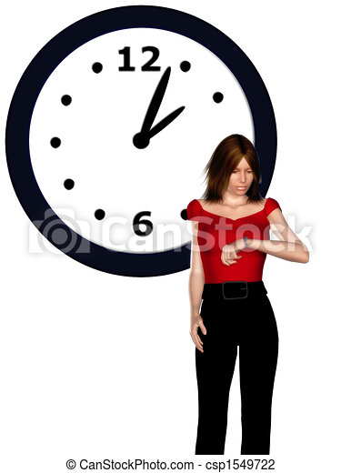 Woman looking at her watch - csp1549722