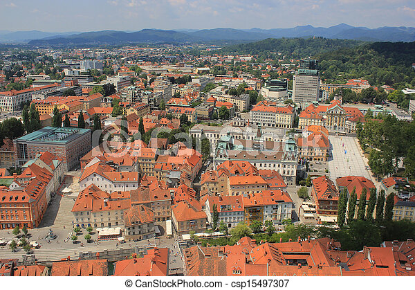 Ljubljana historic center view, Slovenia - csp15497307