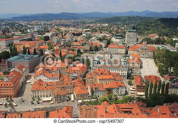 Ljubljana historic center view, Slovenia - csp15497307