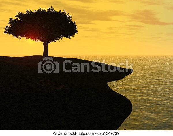Sunrise by the ocean - csp1549739