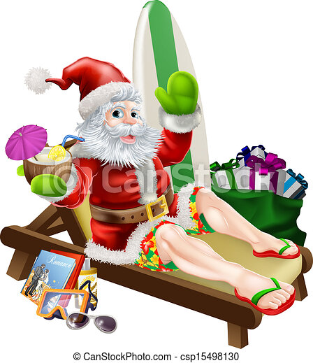Vector Clip Art of Surf Santa - An illustration of a cartoon Santa ...