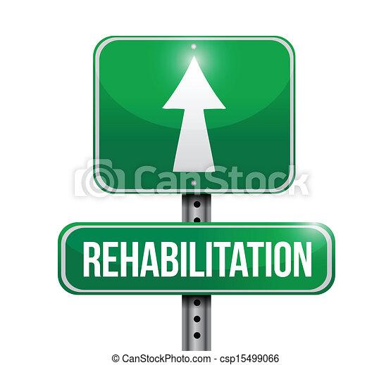 rehabilitation road sign illustration design - csp15499066