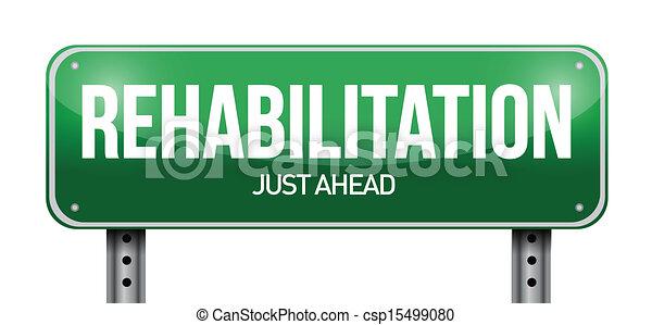 rehabilitation road sign illustration design - csp15499080