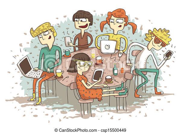 EPS vector de global, aldea, caricatura, grupo, jóvenes, juego, su ...