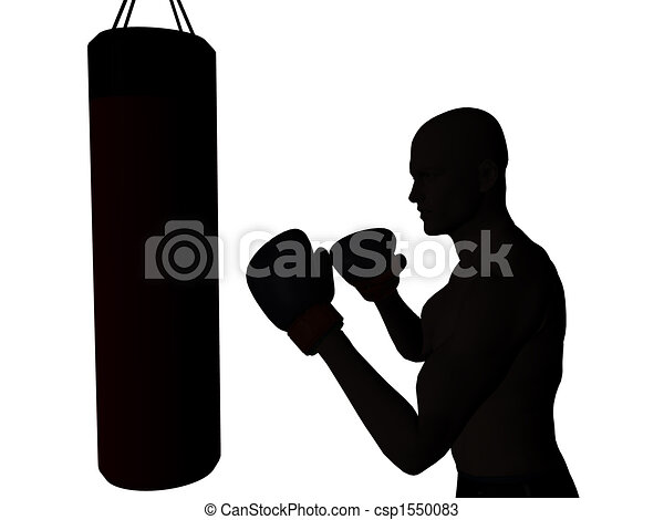 drawing of boxer - a boxer exercising, ready to punch a punching