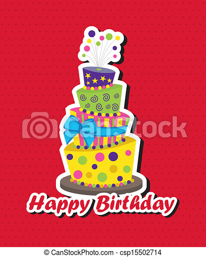 Topsy Turvy Cake Clipart : Vector Clip Art of Birthday card with topsy-turvy cake ...