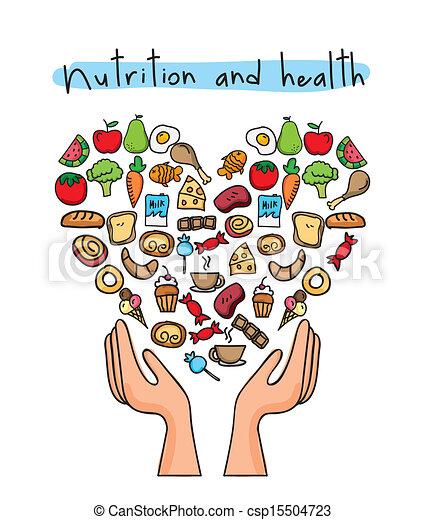 Ilustração Vetorial de saudável, alimento, sobre, branca ...