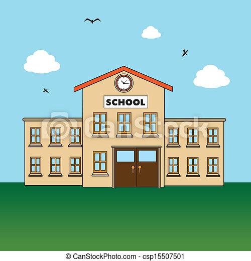 Vector Clipart of school design over landscape background vector ...