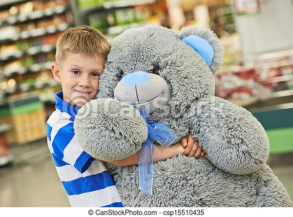 Little boy with bear toy - csp15510435