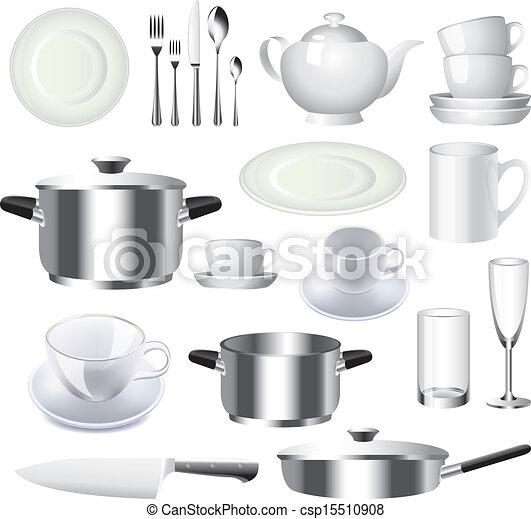 Clipart vecteur de vecteur articles ensemble vaisselle for Articles cuisine