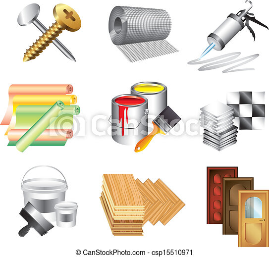 Vectors illustration of building materials icons vector for Waste material images