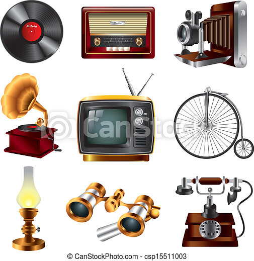 retro objects icons vector set - csp15511003