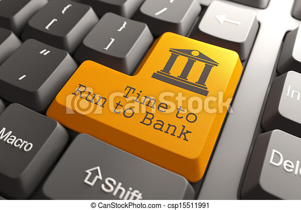 Keyboard with Time For Banking Button. - csp15511991