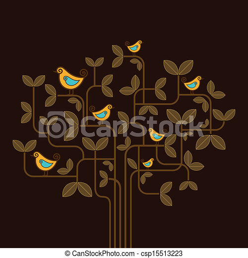 cute vector birds on a tree - csp15513223