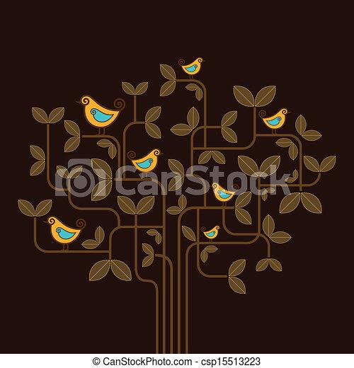 cute vector birds on a tree - csp15513223