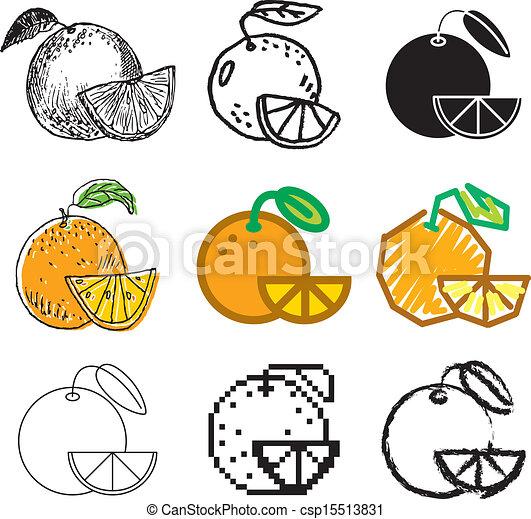 orange fruit icons set - csp15513831