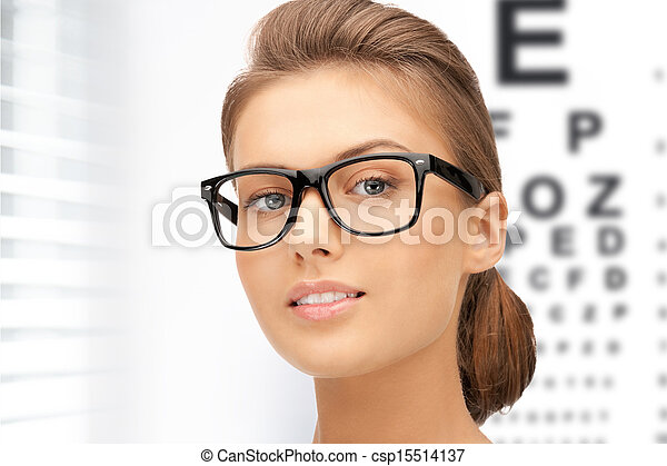 woman in eyeglasses with eye chart - csp15514137