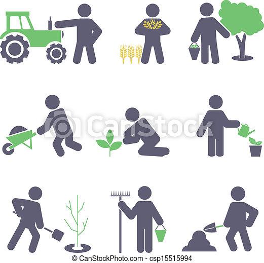 Conjunto, Agricultura, iconos - csp15515994