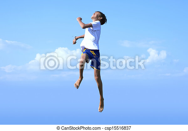 Boy Jumping into the Sky