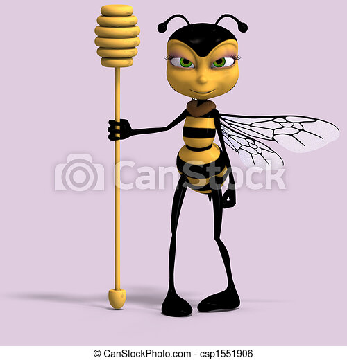 very sweet render of a honey bee in yellow and black - csp1551906