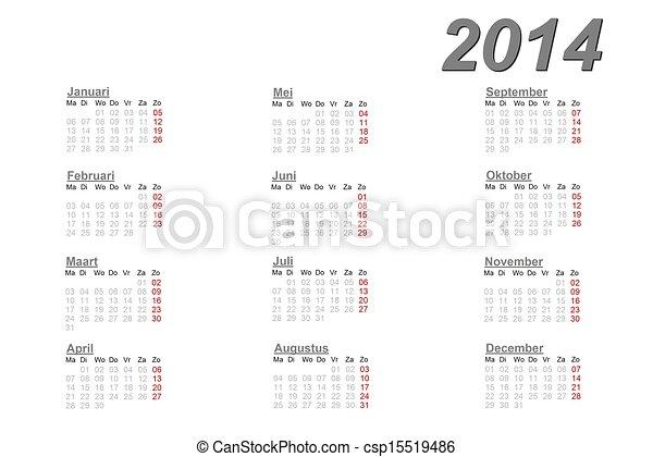 2014, kalendarz, holenderski - csp15519486