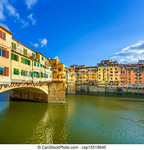 Ponte Vecchio landmark on sunset, old bridge, Arno river in Florence. Tuscany, Italy. - csp15519645