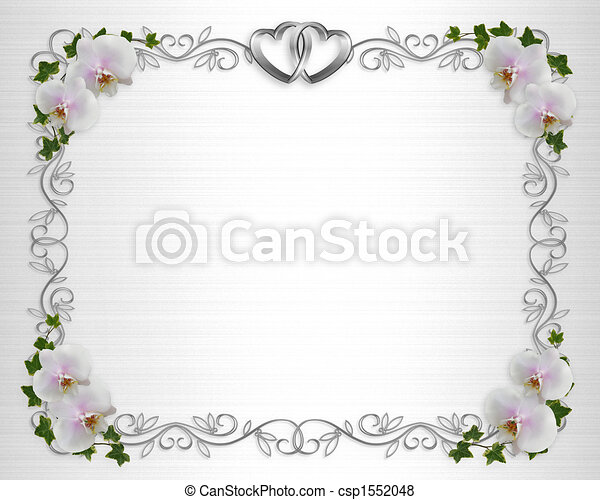 White Orchids on satin invitation border - csp1552048