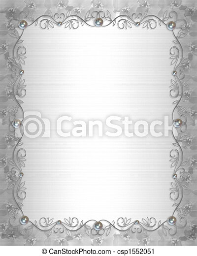 Wedding Border silver and pearls - csp1552051