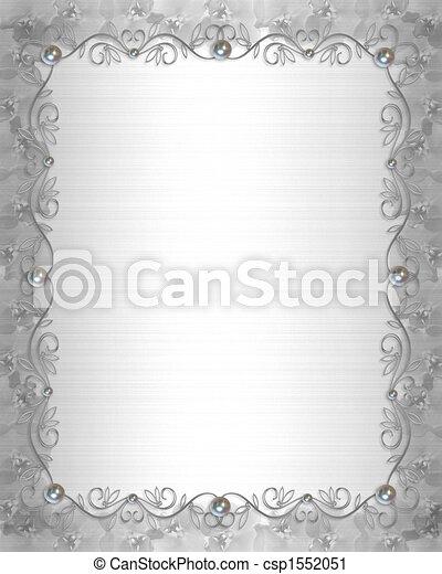 Wedding Border silver and pearls - csp1552051