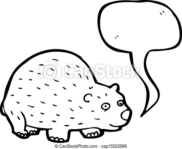 Vector of cartoon wombat with speech bubble csp15523586 - Search ...