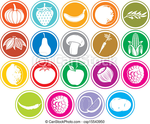 fruits and vegetables icons buttons - csp15543950