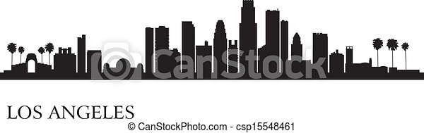 Los Angeles city skyline silhouette background - csp15548461