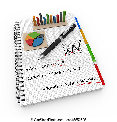 Notebook accounting concept  - csp15550825