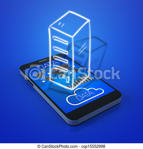 Touch screen mobile phone with data icons - csp15552998