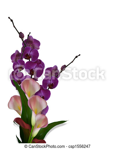 Image composition of pink calla lilies and purple orchids for wedding