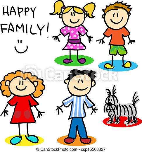 Illustration of Stick figure family - Fun stick figure cartoon family ...