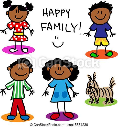 Fun Stick Figures Stick Figure Black Family