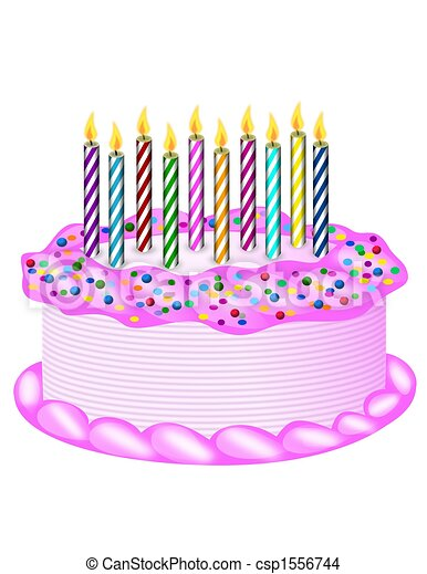 Drawing Of Birthday Cake Birthday Cake With Candles Csp - Graphic birthday cake