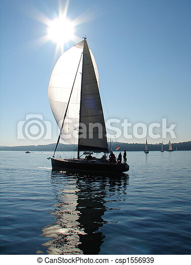 Sailing boat on calm sea - csp1556939