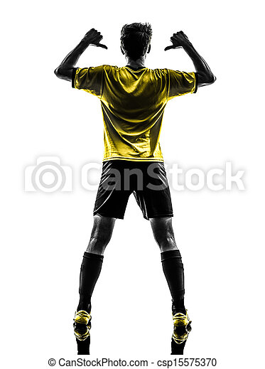 one brazilian soccer football player young man rear view portrait pointing in silhouette studio  on white background - csp15575370
