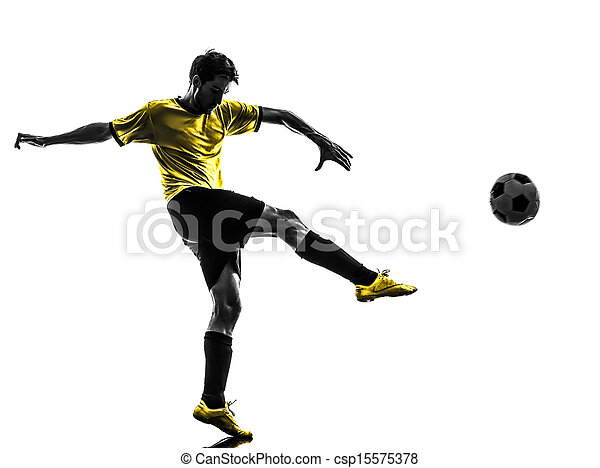 brazilian soccer football player young man kicking silhouette - csp15575378