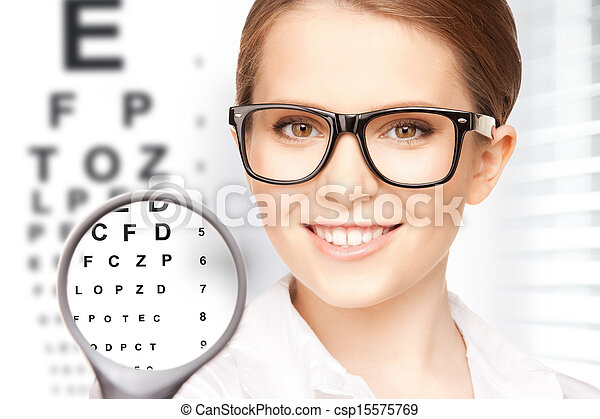 woman with magnifier and eye chart - csp15575769